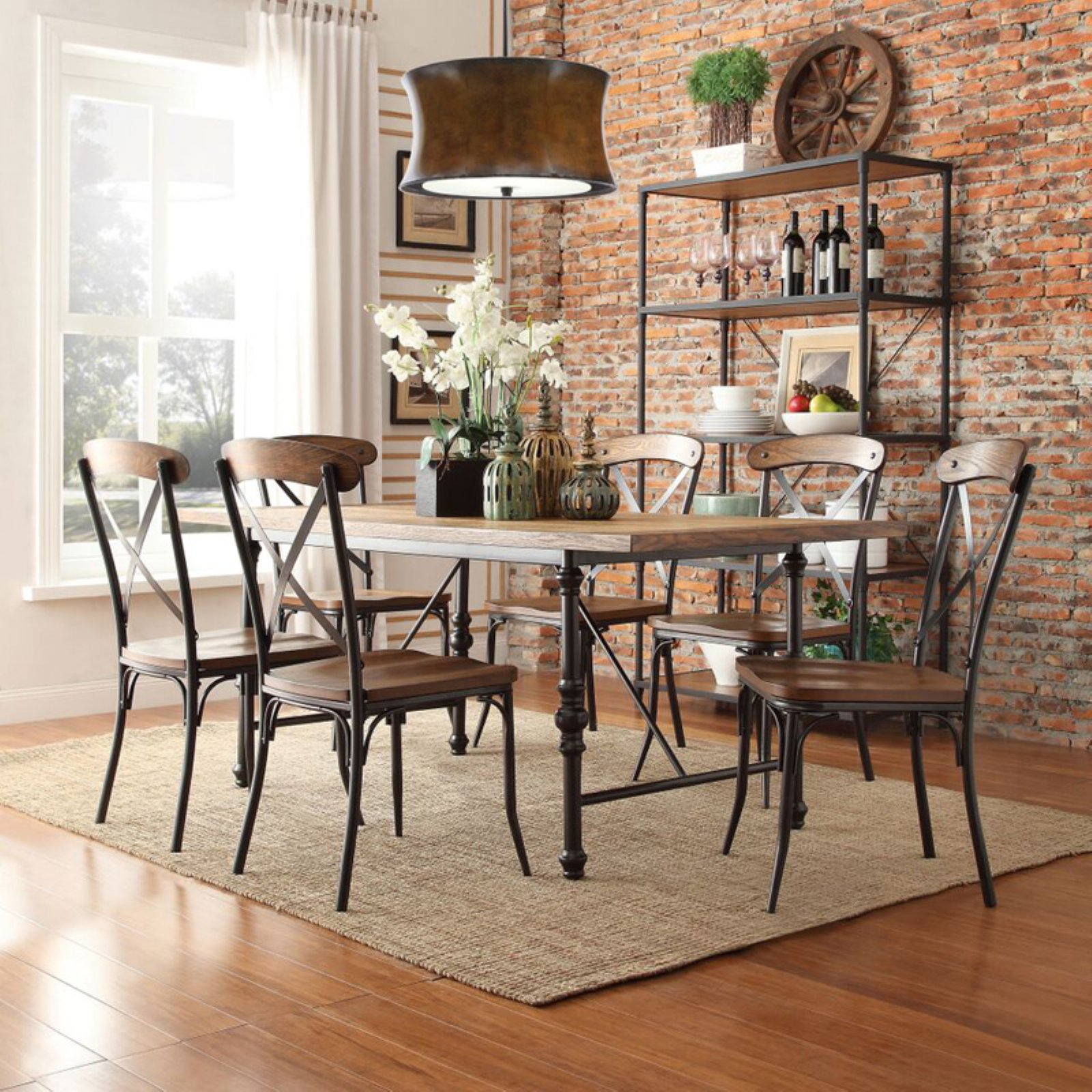 Weston Home 7 Piece Industrial Dining Set with X-Back Chairs