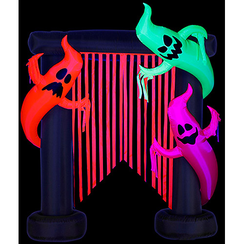 Gemmy 7'H x 6'W Airblown Halloween Inflatable Archway-Flo Glo Friendly Ghost, Includes Blacklight Spotlight