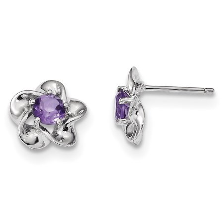 Sterling Silver Rhodium-plated Floral Amethyst Post Earrings QBE31FEB - image 2 de 2