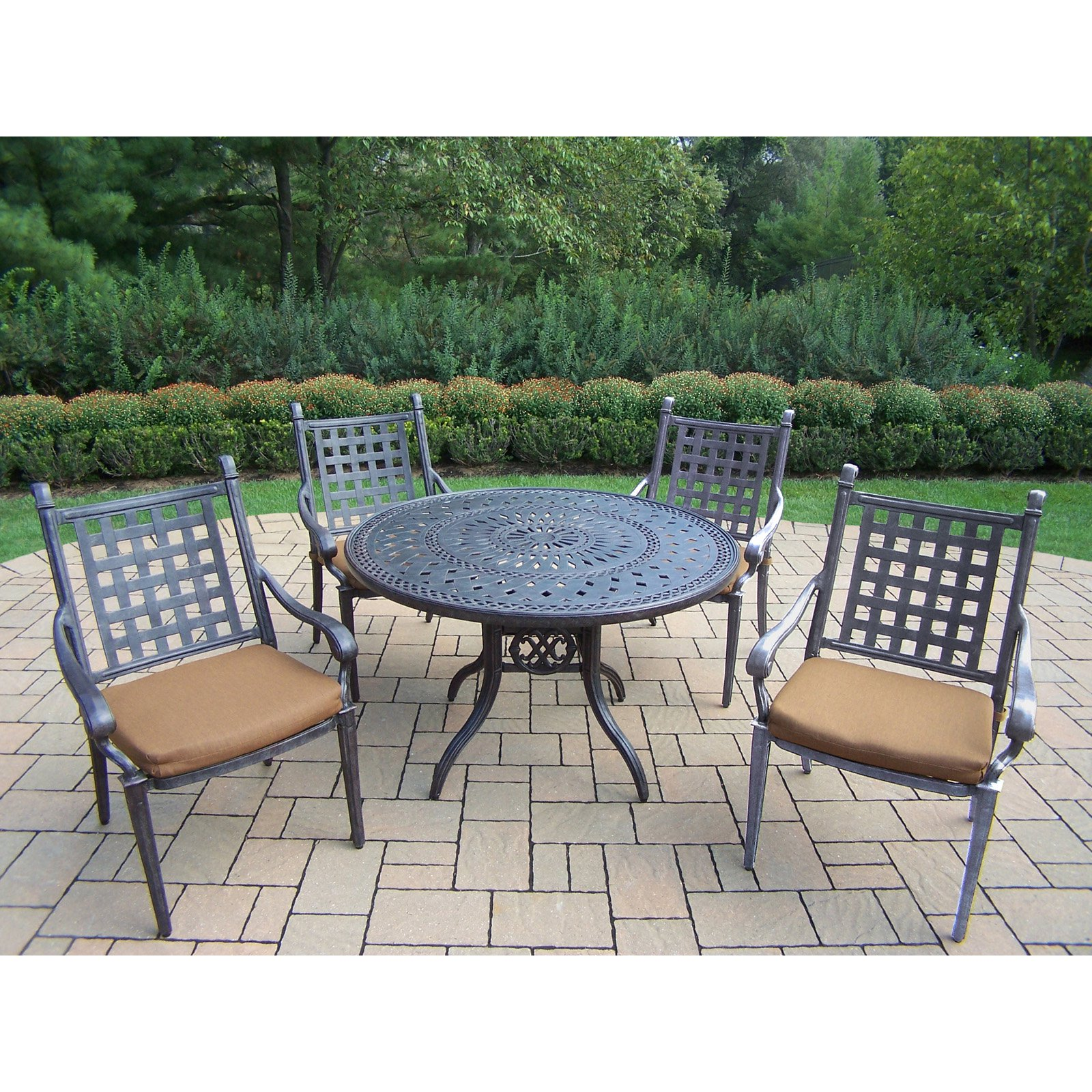 Oakland Living Belmont 5 Piece Round Patio Dining Set