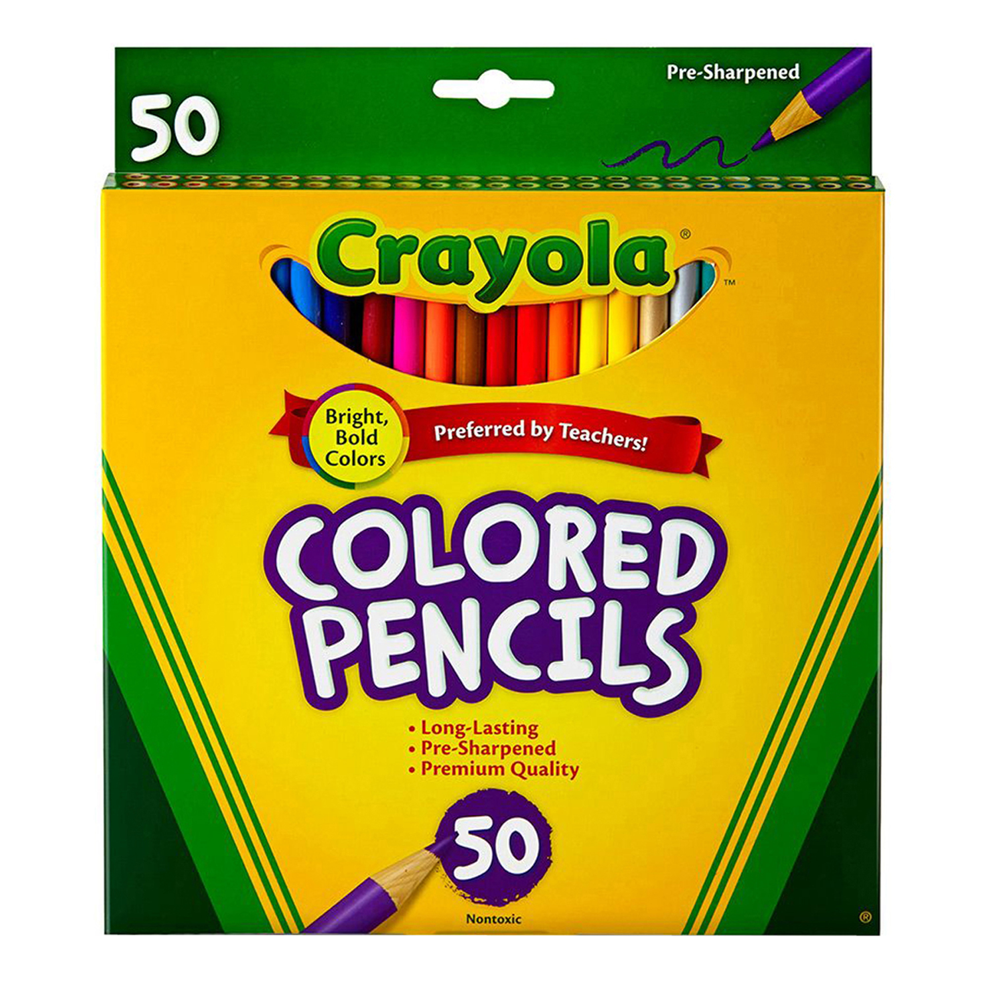 Crayola® Colored Pencils, Full Length, Assorted Colors, 50 Count