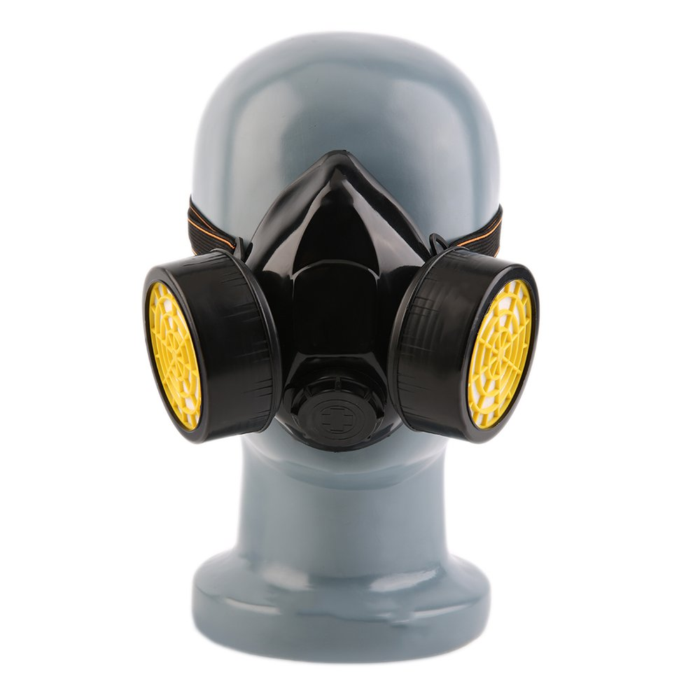 Black Gas Mask Emergency Survival Safety Respiratory Gas Mask Anti Dust Paint Respirator Mask with 2 Dual Protective Filter by