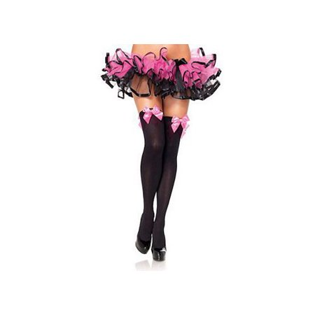 Women's Opaque Thigh High Stockings with Satin Bow, Light Pink, One Size