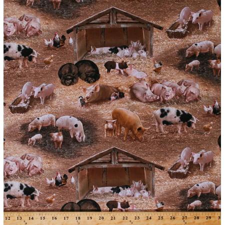 Fabric Barnyard - Cotton Pigs Piglets Piggies Hogs Boars Barnyard Fowl Chickens Barns Farming Farm Animals Brown Cotton Fabric Print by the Yard (338brown)