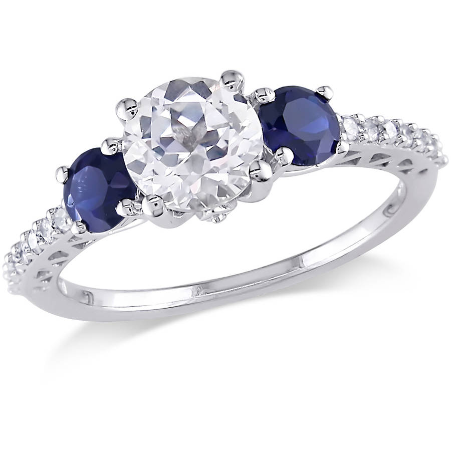 Tangelo 2 Carat T.G.W. Created White and Blue Sapphire and 1 7 Carat T.W. Diamond 10kt White Gold Three-Stone Ring by Generic