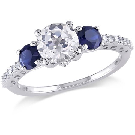 2 Carat T.G.W. Created White and Blue Sapphire and 1/7 Carat T.W. Diamond 10kt White Gold Three-Stone (Deep Blue Sapphire Diamond)