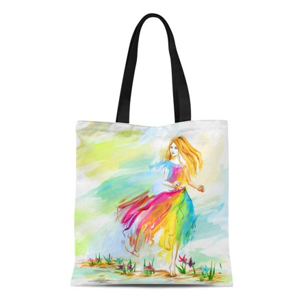 Light Run Bag (LADDKE Canvas Bag Resuable Tote Grocery Shopping Bags the Young Barefoot Woman at Light Chiffon Dress Runs on Flower Ground Is Youth Tote Bag)