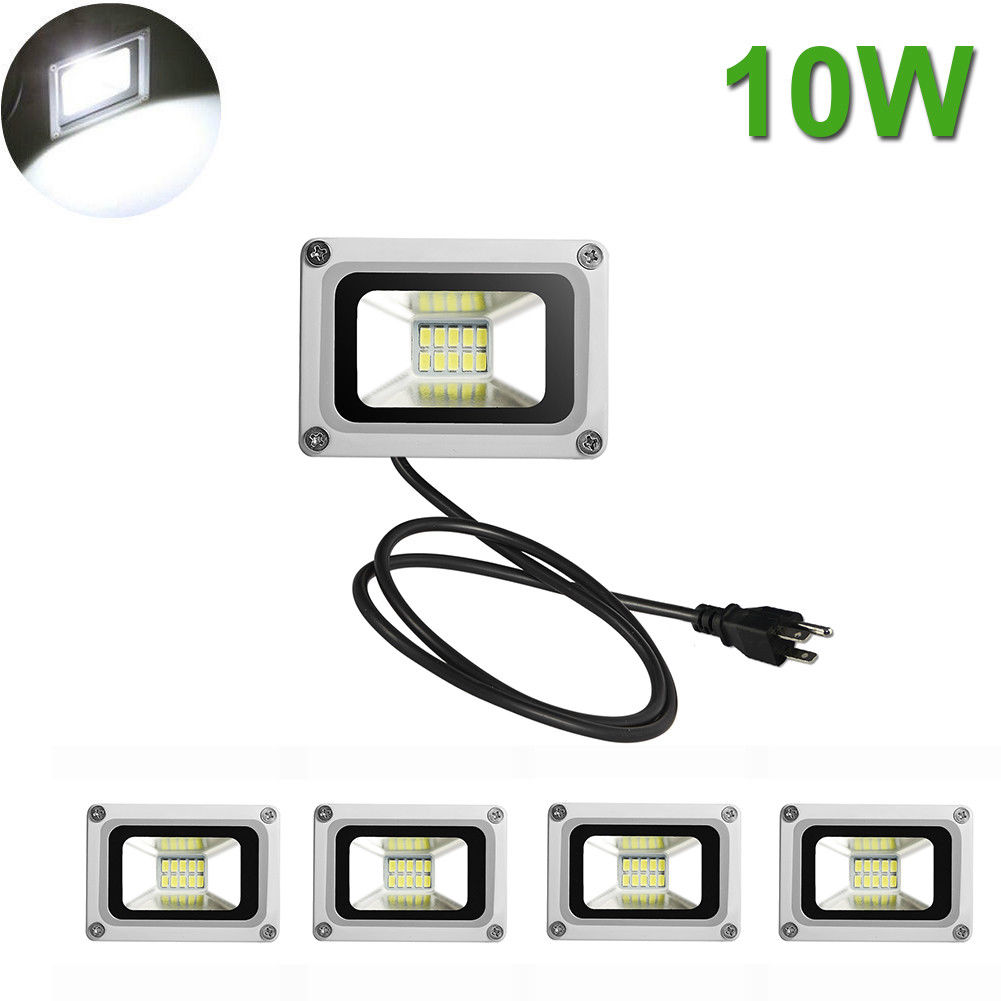 5X 10W LED Flood Light Cool White Outdoor Security Spot Lamp Waterproof US Plug