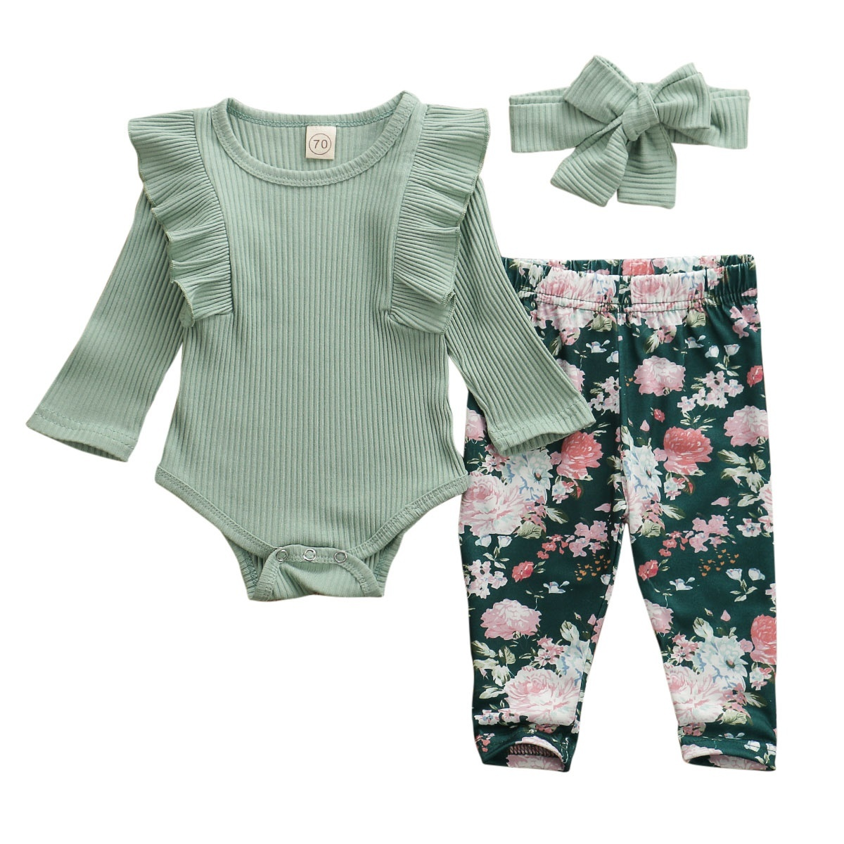 New Infant Baby Girl Romper Jumpsuit Palysuit Floral Leggings Outfit Set Casual Long Pants Trouser Headband Outfits