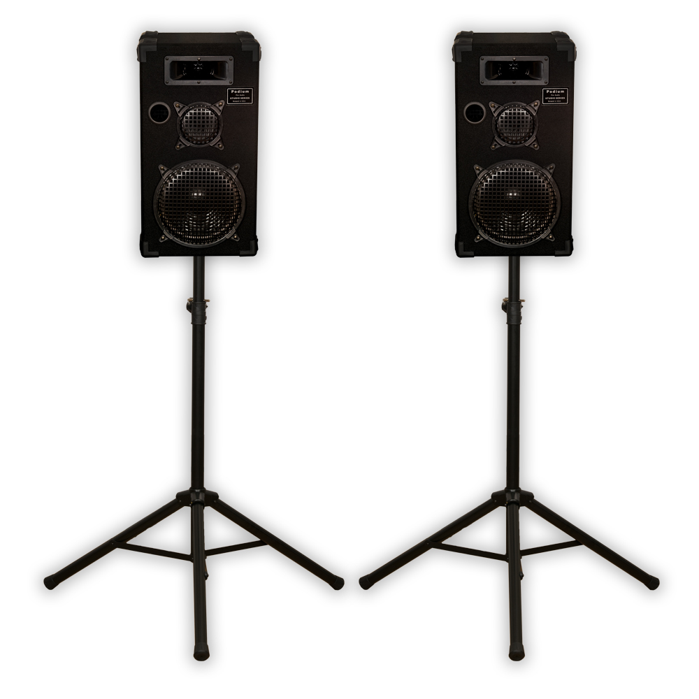"Podium Pro E1000C Passive Speakers 3 Way 10"" Monitor Pair and Stands PA DJ Home 1000CSET1"