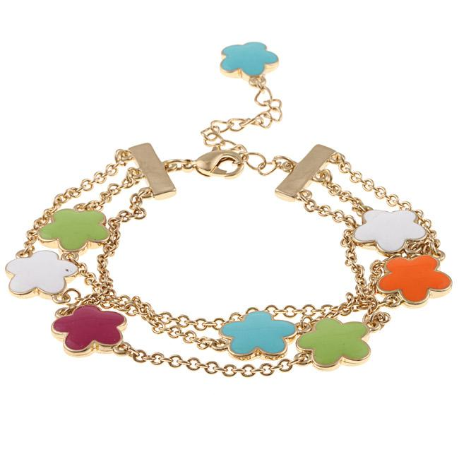 Zirconmania 610B-2568MTC-G Goldtone Multi-color Enamel Three Strand Bracelet