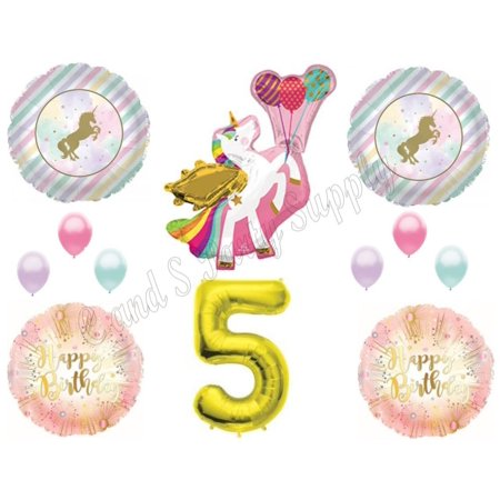 WINGED UNICORN 5th Happy Birthday Party Balloons Decoration Pastel Gold Fifth