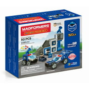 Magformers Amazing Police 50 Pieces, Wheels, Blue red colors, Magnetic Geometric tiles STEM Toy Ages 3+