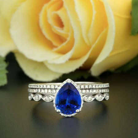 Art Deco 2 Carat Pear Cut Real Sapphire and Diamond Wedding Trio Ring Set with Engagement Ring and 2 Wedding Bands in 18k Gold Over Silver
