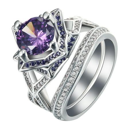 layla purple flower engagement wedding band ring bridal set glk collection - Purple Diamond Wedding Ring