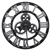 12/16 Inch Large Vintage Wooden Wall Clock Steampunk 3D Gear Retro Roman Numerals Silent Sweep for Outdoor Patio Garden Decoration
