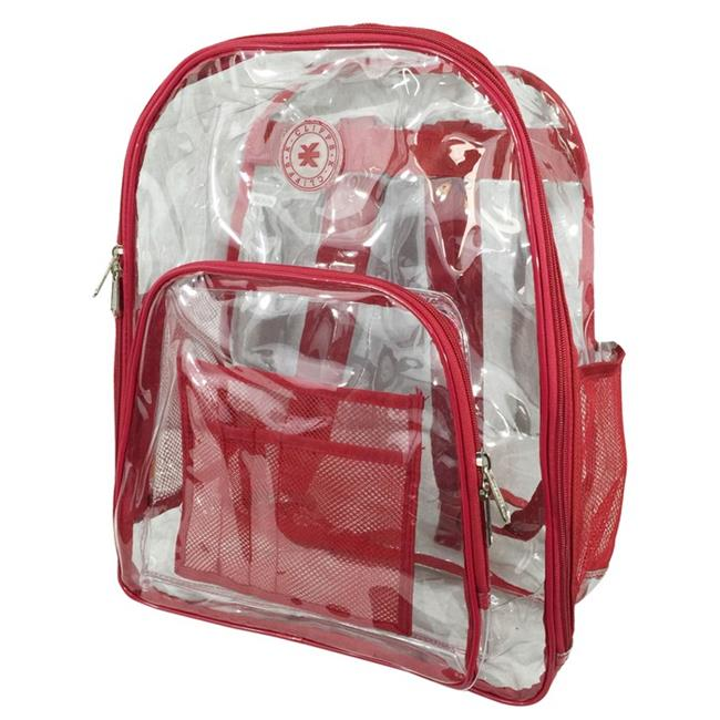 Harvest LM213 Red Deluxe 17 inch See-through Clear 0. 5 mm.  PVC Backpack