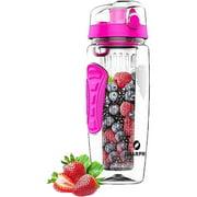 Sharpro 32 Ounce Fruit Infuser Non-Slip Flip Top Lid Water Bottle BPA Free Pink