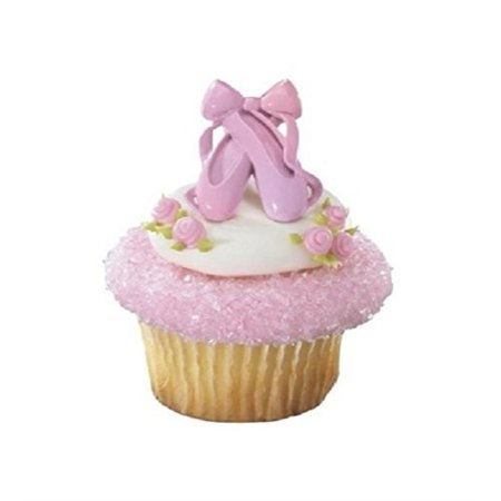dance ballerina ballet slippers pink (24) cupcake topper favor decor rings (Ballerina Birthday)