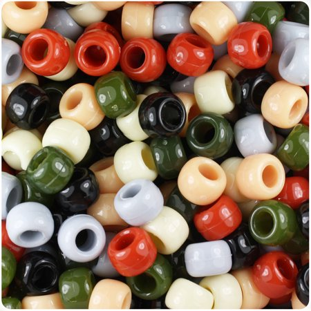 BeadTin Natural Mix Opaque 9mm Barrel Pony Beads - Natural Barrel