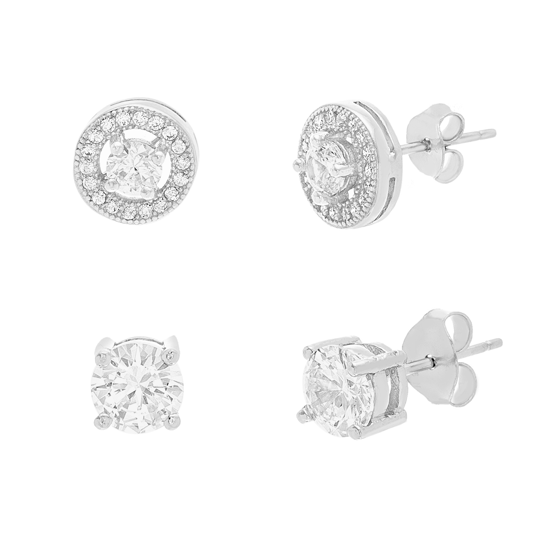 18K White Gold Sterling Silver Cubic Zirconia Duo 4 Prong Halo and Circle Earring Set