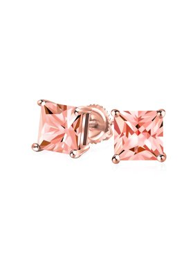 1CT AAA CZ Square Solitaire Princess Cut Screw Back Stud Earrings For Women For Men 14K Rose Gold Plated Sterling Silver