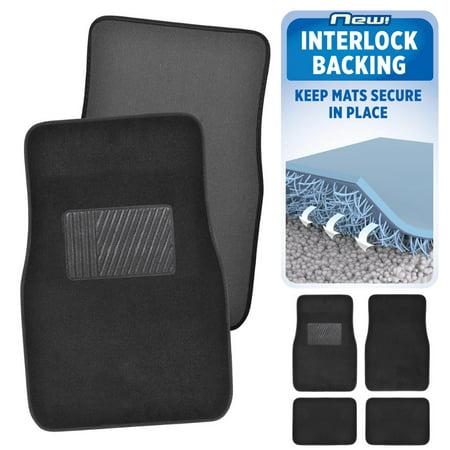 Molded Automotive Carpet - BDK INTERLOCK Car Floor Mats - Secure No-Slip Technology for Automotive Interiors - 4pc Inter-Locking Carpet (Black)