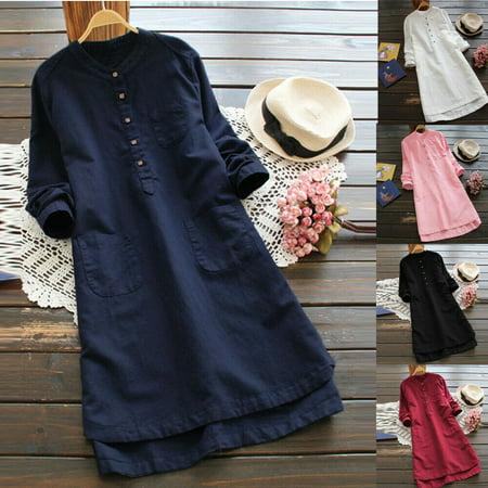 - The Noble Collection Womens Cotton Linen Maxi Dress Long Sleeve Casual Boho Kaftan Tunic Gypsy Ethnic