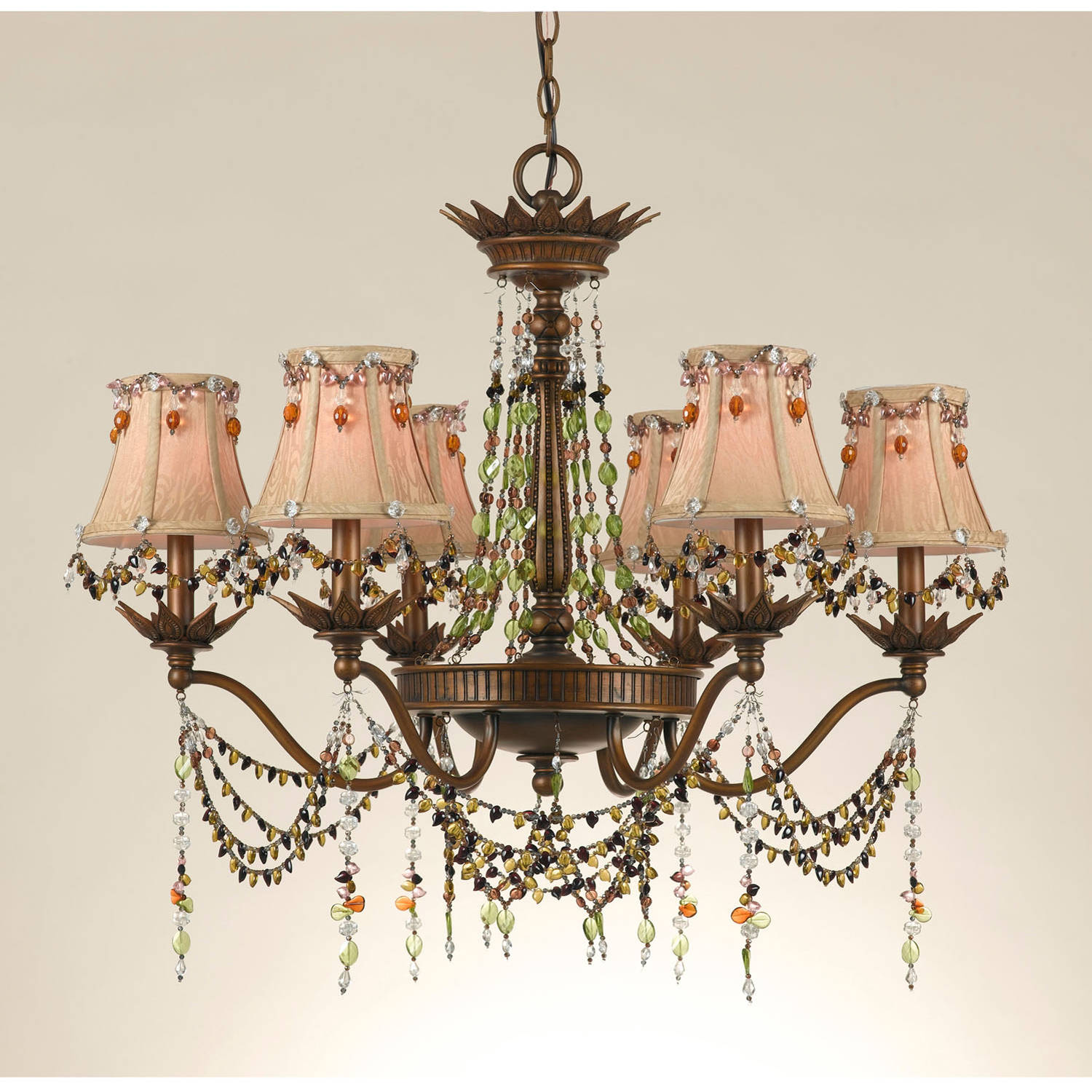 AF Lighting Tiara 6-Light Chandelier with Beaded Gold Jacquard Shades, Burnished Gold