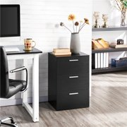 Topeakmart 3 Drawers Night Stand Metal Handles Cabinet Sofa End Table Chest Dresser Black