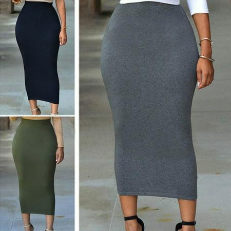 Women High Waist Bodycon Straight Stretch Pencil Midi Skirt Long Dress Skirt