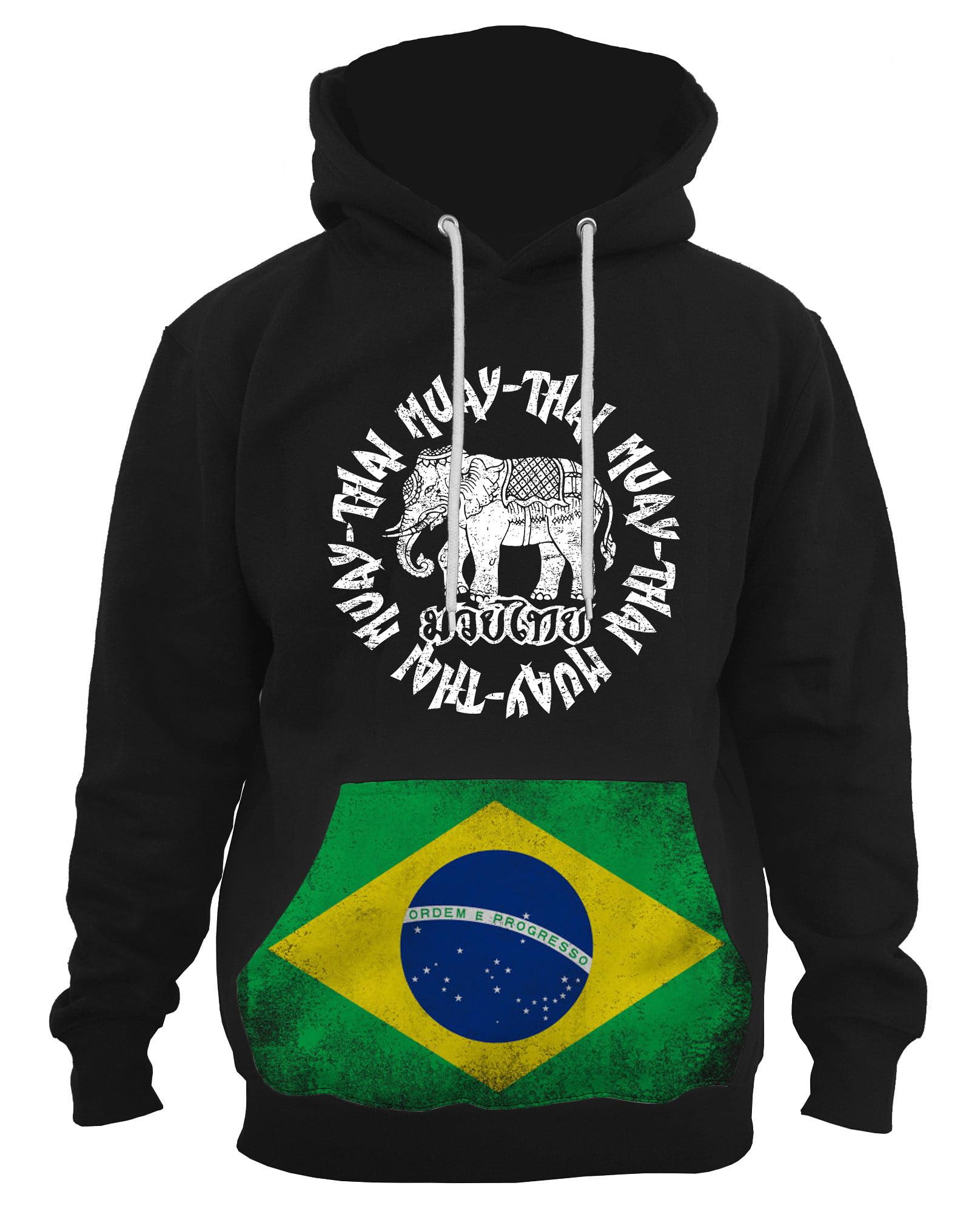 Interstate Apparel Mens MMA Muay Thai Emblem Black Pullover Hoodie Sweater Black