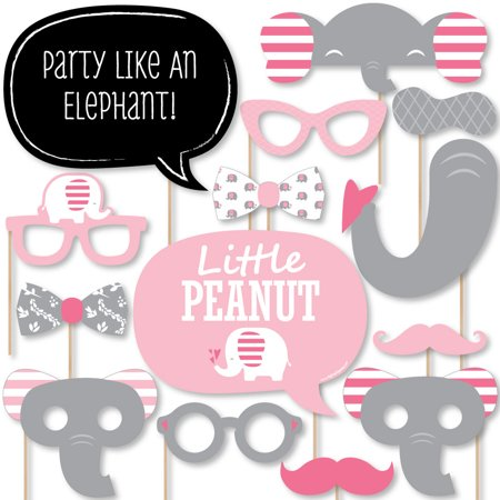 Pink Elephant - Girl Baby Shower or Birthday Party Photo Booth Props Kit - 20 Count (Girl Elephant Baby Shower)