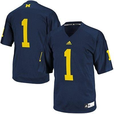 Michigan Wolverines #1 NCAA Adidas Youth Navy Premier Football Jersey - Youth XL