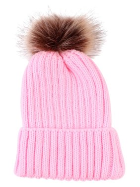 Baby Winter Knitted Cotton Pom Pom Cap Girls Boys Warm Soft Cute Bobble Hat