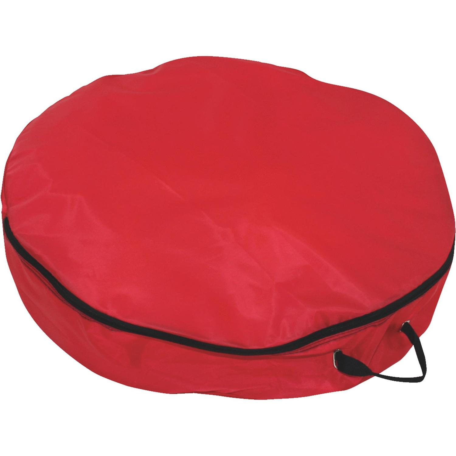 "24"" Lightweight Red Christmas Wreath Storage Bag with Handles"