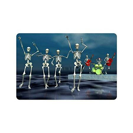 CADecor Holiday Skeleton Concert Door Mat Home Decor, Halloween Party Indoor Outdoor Entrance Doormat 23.6x15.7 Inches