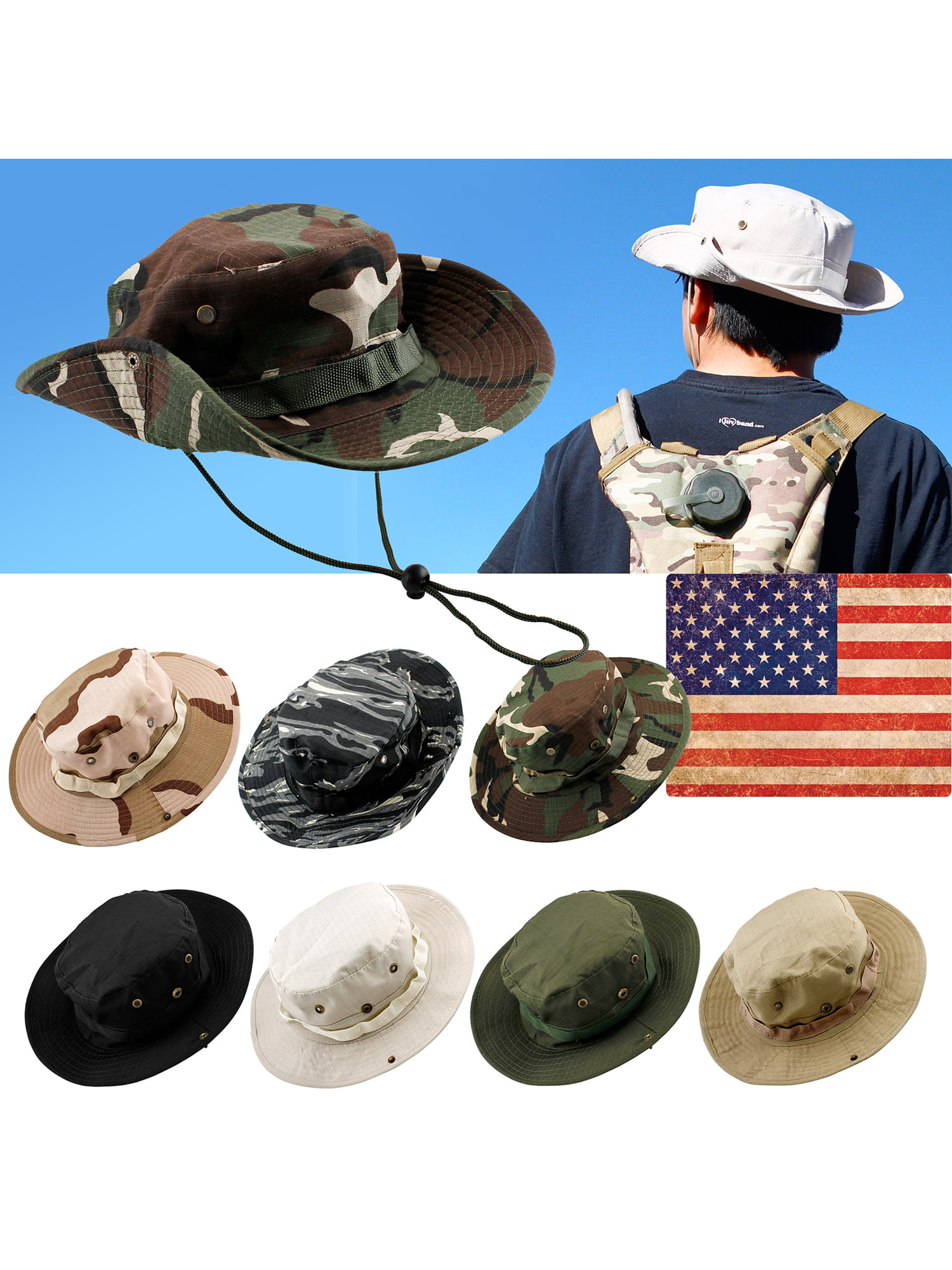 Men Fishing Hunting Hat Bucket Boonie Outdoor Cap Washed Cotton Summer by GEARONIC TM
