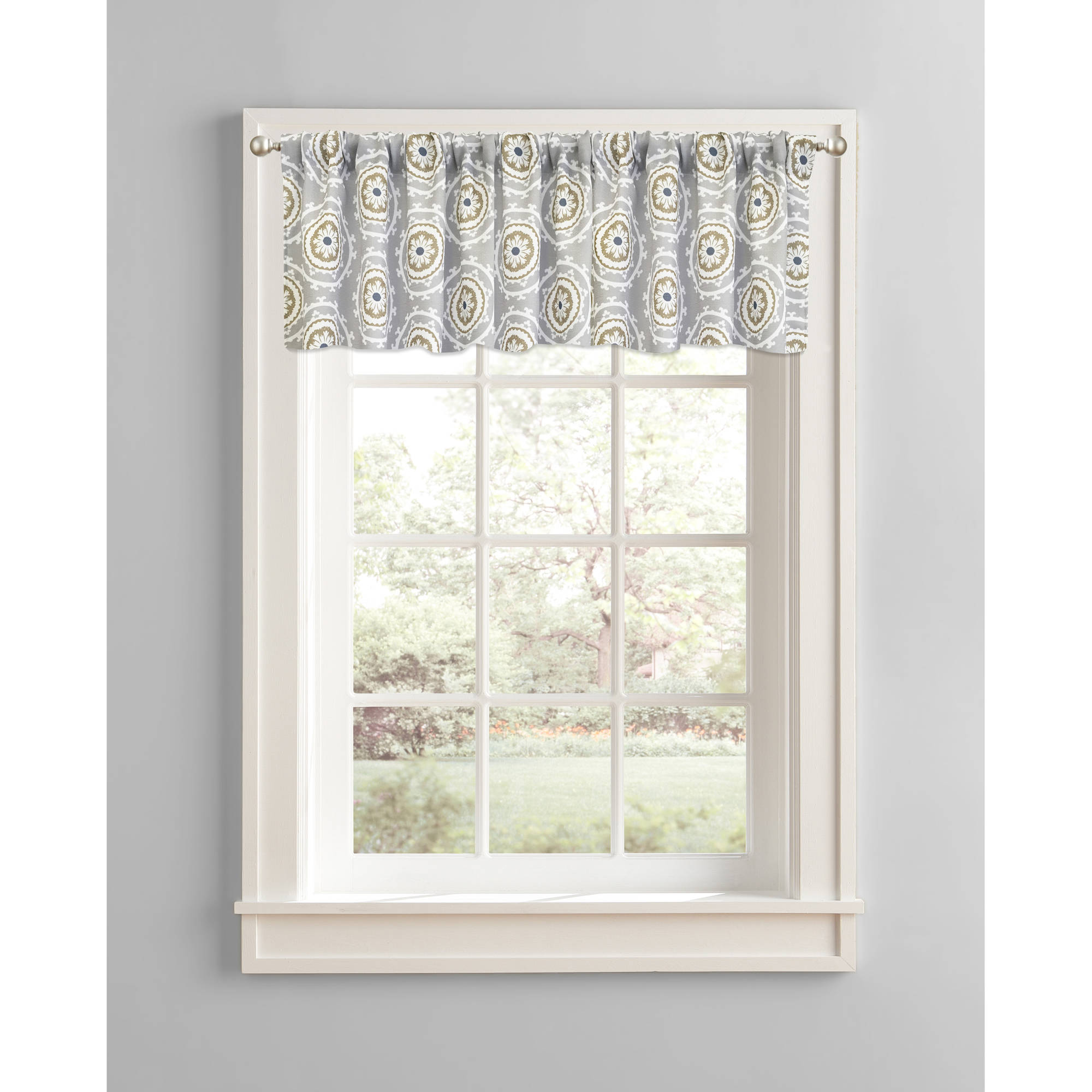 Better Homes and Gardens Gray Medallions Valance, Rod Pocket by Colordrift LLC