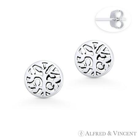 Tree w/ Filigree Vine & Leaf Charm Circle Stud Earrings w/ Push-Back Posts in .925 Sterling Silver Tree Charm Earrings