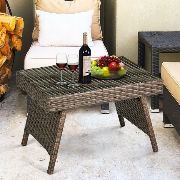 Costway Patio Folding Wicker Side