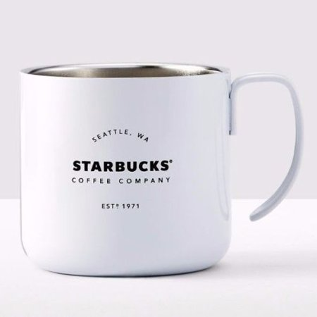 Starbucks Est 1971 Stainless Steel 2016 White Camping Coffee Mug Cup 12 oz.](White Coffee Cups)
