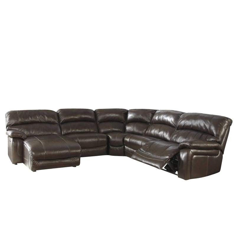 Ashley Furniture Damacio 5 Piece Leather Reclining Sectional In Brown
