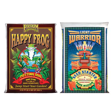 FoxFarm Light Warrior Seed Germinator Soil Mix and Happy Frog Potting Soil