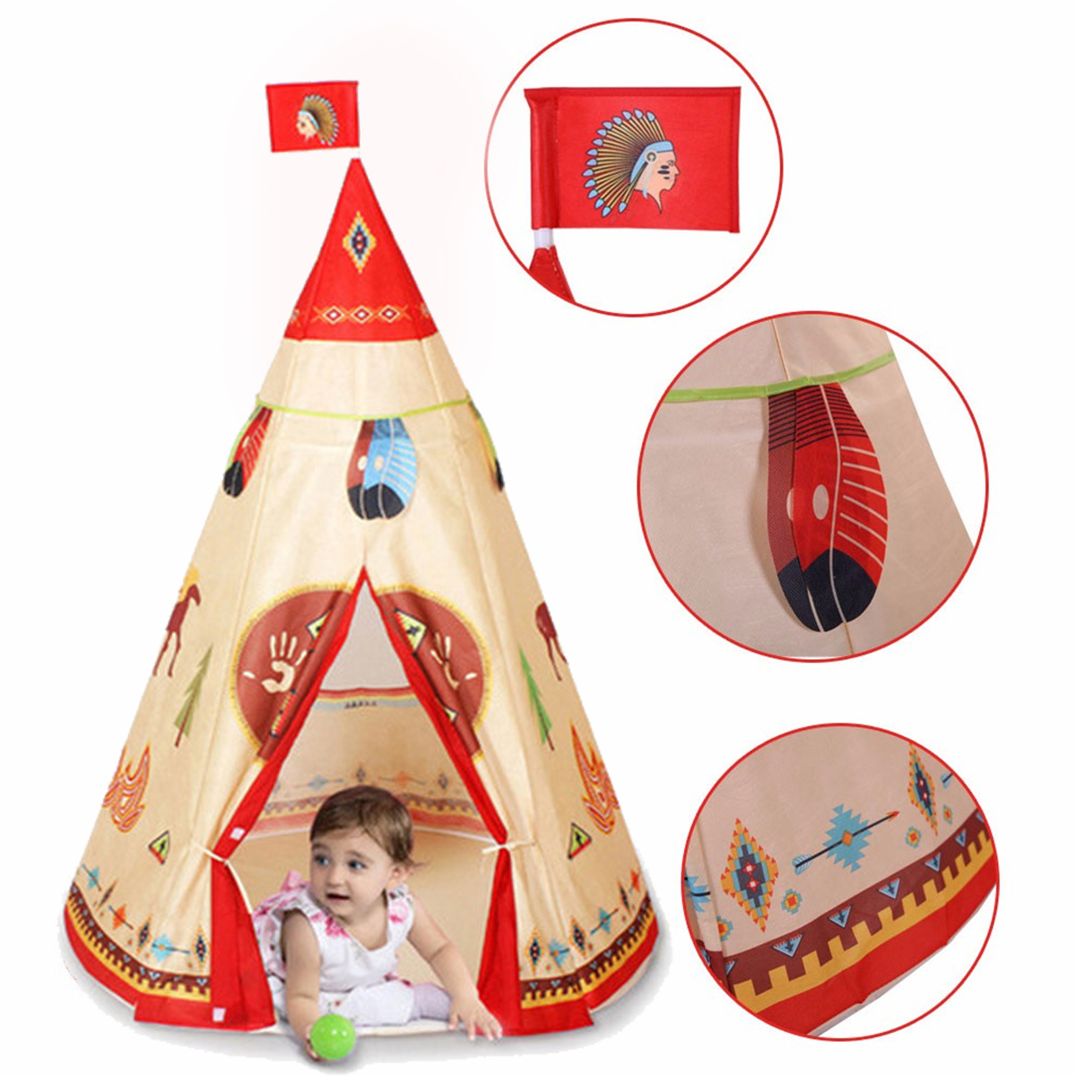 Indoor Indian Playhouse Toy Teepee Play Tent Gift for Kids Toddlers Canvas Teepee With Carry Bag