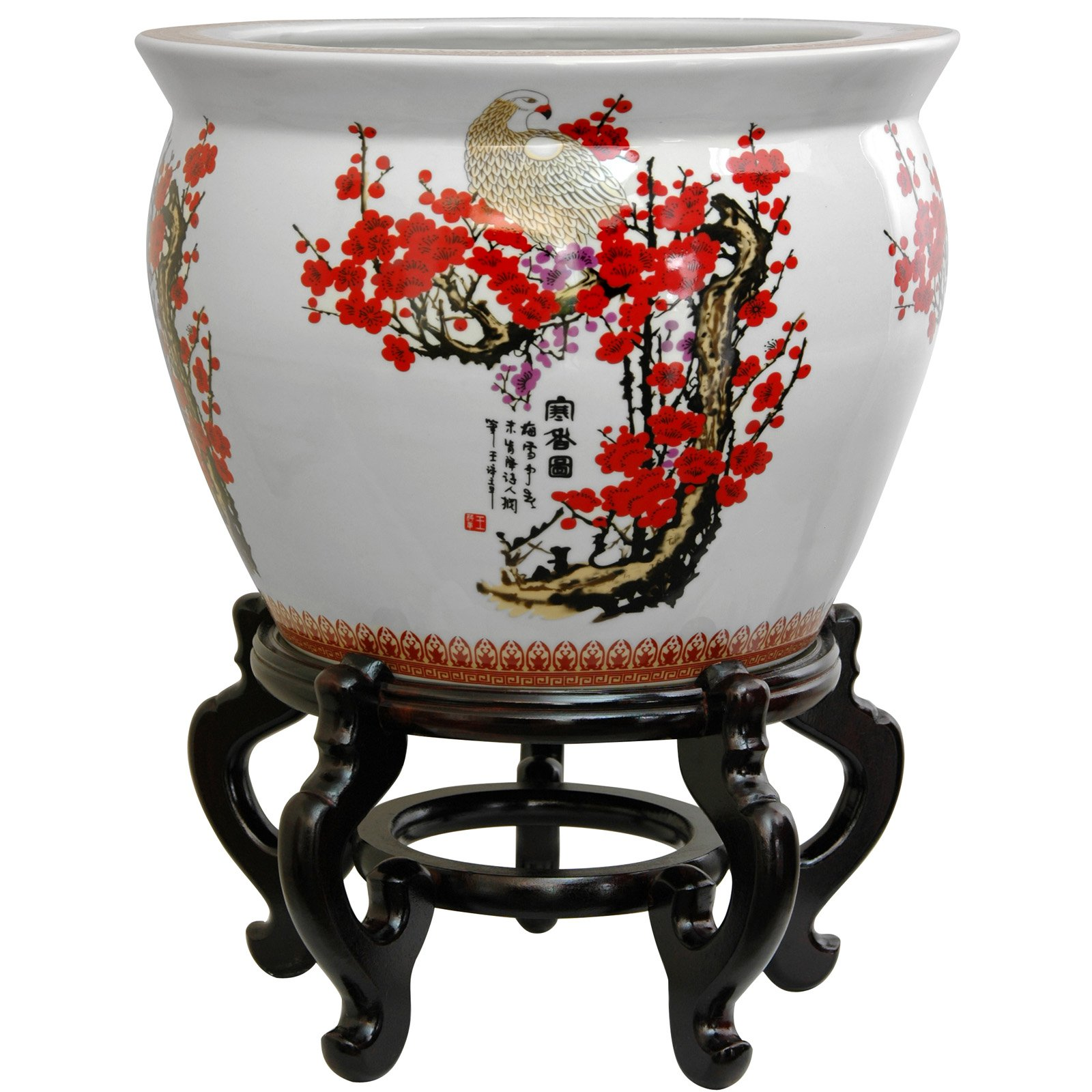 """16"""" Cherry Blossom Porcelain Fishbowl by Oriental Furniture"""