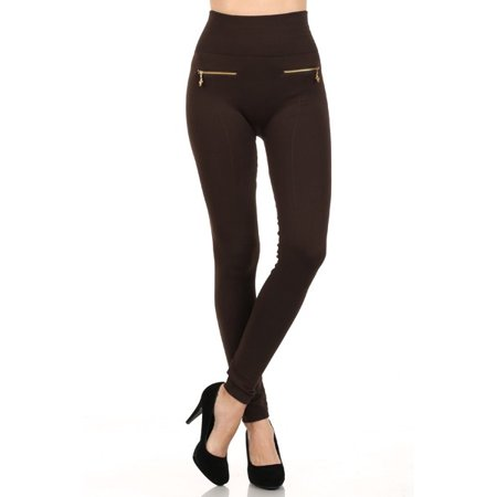 Zipper Leggings Pants - Women's Fashionable Fleece Leggings in Solid Color with 2 Gold zippers & seams on Front, Coffee