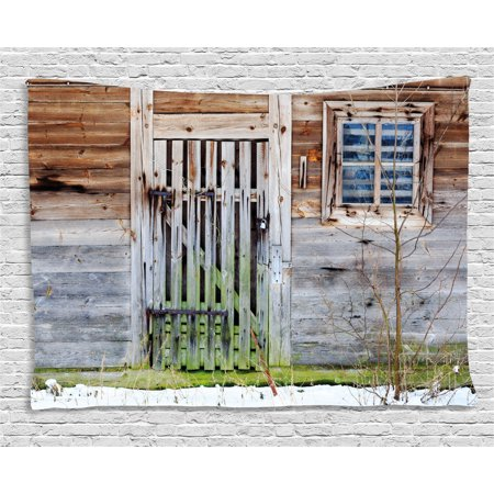 Primitive Country Decor Tapestry, Neglected Old Farmhouse Rustic Wooden Door and Window Rural, Wall Hanging for Bedroom Living Room Dorm Decor, 60W X 40L Inches, Brown Green Silver, by Ambesonne ()