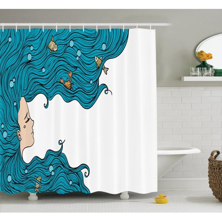 Mermaid Decor  Girl With Big Hair Hairstyle Fly Away Fairytale Sleeping Crab Imaginary Artwork, Bathroom Accessories, 69W X 84L Inches Extra Long, By