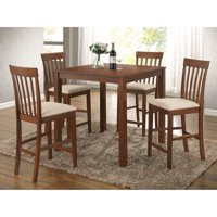 Benzara 5 Piece Wooden Counter Height Dining Set, Brown & Ivory